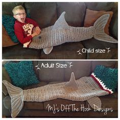 & Quick Shark Blanket pattern by MJ's Off The Hook Designs Bulky & Quick Shark Blanket Crochet Pattern,. This might be cooler than a mermaid tail! This might be cooler than a mermaid tail! Crochet Afghans, Crochet Blanket Patterns, Knitting Patterns, Knit Crochet, Free Crochet, Crochet Shark Blanket, Crochet Blankets, Crotchet, Shark Tail Blanket