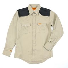 eda5df398fa Wrangler FR Lightweight Work Shirt -Khaki Black