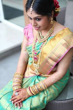 Absolutely Amazing Pastel Bridal Saree on a South Indian Bride Indian Bridal Sarees, South Indian Sarees, Indian Silk Sarees, Indian Bridal Wear, South Indian Weddings, South Indian Bride, Bridal Looks, Bridal Style, Beautiful Blouses