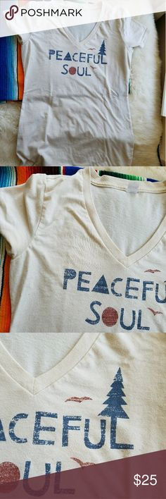 Peaceful Soul Organic V Neck Long fitted t shirt w v neck, cream colored with txt that's purposefully distressed reads peaceful soul in dark blue and red. Worn a handful of times. Soft organic stretch cotton. Soul Flower Tops Tees - Short Sleeve