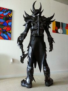 Skyrim Daedric Armor - Foam Build (COMPLETE! Pic Heavy) tons of awesome info in the thread. This was his first build!