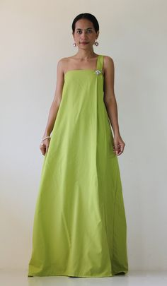 Split Maxi Dress  One shoulder halter green dress  by Nuichan, $59.00