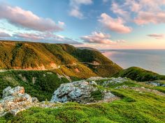 Now this is one of the most scenic we have ever seen. Cabot Trail in Nova Scotia winds around the greater part of Cape Breton Island and offers views of the woods AND the ocean. Cabot Trail, Nova Scotia, Rocky Mountains, Atlantic Canada, Atlantic Ocean, Wanderlust, On The Road Again, Cape Breton, Thats The Way
