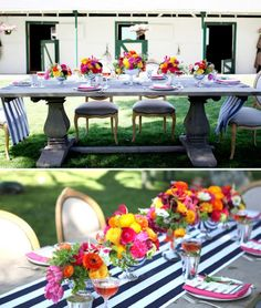 navy striped runner, bright flowers, farmhouse table