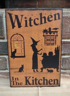 Primitive Witch sign Witchen in the Kitchen witches Signs halloween  decorations witchcraft black cats wood plaque 0f490aee3657