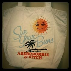 "Abercrombie & Fitch beach tote Cream colored beach tote, used, small stain under ""buns"" little wear on outside bottom of bag Abercrombie & Fitch Bags Totes"