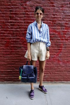 Day 1 of Summer Outfit Apropos featuring gold shorts. http://www.manrepeller.com/2015/07/outfit-ideas-for-summer-office-style.html