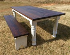Turned Leg Farmhouse Table  Chunky Leg Farm by BoardmanCoWoodworks