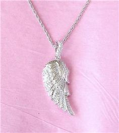 affinity diamond wing pendant | ... AFFINITY DIAMOND STERLING SILVER ANGEL WING PENDANT NECKLACE QVC, NIB