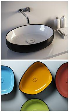 Countertop Washbasin Metamorfosi by Olympia Ceramica olympiaceramica. Countertop Basin, Countertops, Concrete Bath, Bath Tube, Dream Bath, Chic Bathrooms, Bathroom Toilets, Downstairs Bathroom, Bath Accessories