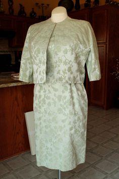 aea2fcb95c94 Vintage 1960's Carol Craig Dress Suit Mint Green Floral Brocade