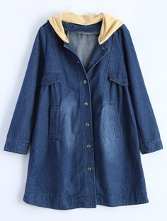 $21.26 Ruched Hooded Denim Coat