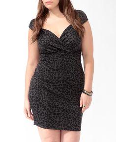 Animal Print Surplice Dress (Charcoal/Black). Forever 21. $22.80