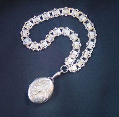 Antique Sterling Locket & Collar , English , Circa 1880 from Vignette on Ruby Lane