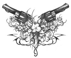 cross tattoo skull gun  | Guns Flowers Tribes and Face by jacko41