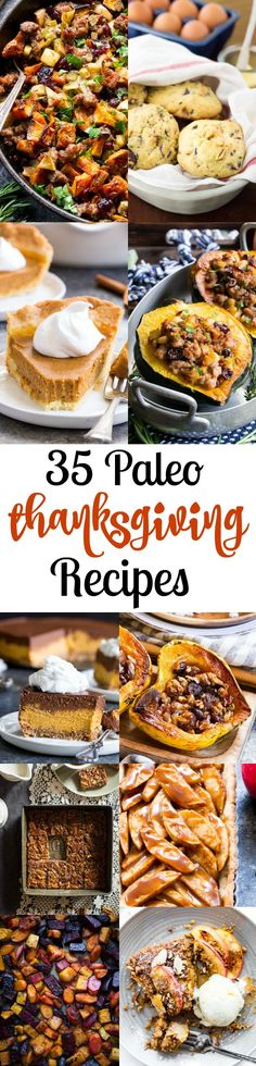 It's time to get ready for Thanksgiving! Whether you're hosting a big group or just bringing along a favorite dish these 35 delicious Paleo Thanksgiving recipes will inspire you to get cooking. A mix of appetizers/snacks main dishes side dishes and des Paleo Dessert, Dessert Recipes, Desserts, Dinner Dessert, Snack Recipes, Dinner Recipes, Paleo Thanksgiving, Thanksgiving Appetizers, Paleo Appetizers