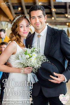 "‪#‎JuneWedding‬ bride is Autumn Reeser, seen here with her co-star, Jesse Metcalfe. See them in ""A Country Wedding"" premiering June 27 9/8C"