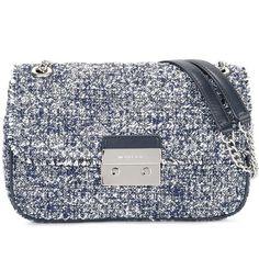 Michael Michael Kors tweed crossbody bag (365 CHF) ❤ liked on Polyvore featuring bags, handbags, shoulder bags, blue, blue cross body purse, blue handbags, michael michael kors crossbody, blue purse and crossbody purses