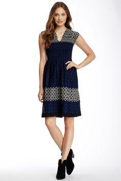 Smocked Jacquard Dress