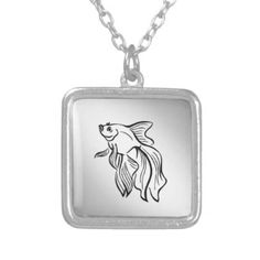 #fishing - #Siamese Fighting Fish Silver Plated Necklace
