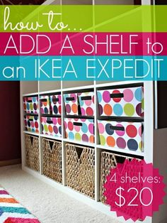 Create more small-item storage -- add a shelf to your IKEA Expedit.