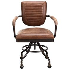 Add edgy industrial style to your home office with this desk chair. The desk chair's iron frame and top grain leather upholstery together create an inherently rustic industrial look. Foam padding and casters promise comfortable and function.