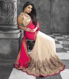 Buy Pink and white embroiderd georgette saree with blouse party-wear-saree online
