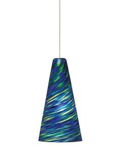 Tech Lighting 700MOTAZB MonoRail Mini Taza Blue-Green Twisted Blown Glass Pendan Satin Nickel Indoor Lighting Track Lighting Pendants