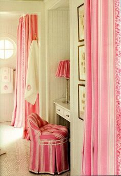 In the PINK Room - Pink, pink pink! Such a happy color! This pink striped fabric makes for such pretty bathroom. via:everyth Decor, Pink Vanity, Home, Sweet Home, Pink Bathroom, Elegant Homes, Beautiful Bathrooms, Pink Room, Interior Design