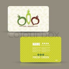 Stock vector of 'Card set eco design, organic foods shop or vegan cafe business card  with vegetables and fruits doodle background.'