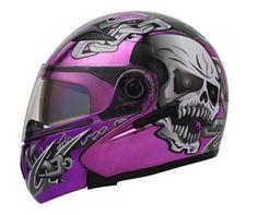 Masei Purple Chrome Skull 803 Flip-Up Motorcycle Helmet Free Shipping