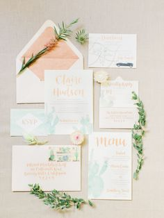 Turquoise and peach pastel wedding invitation paper suite: http://www.stylemepretty.com/little-black-book-blog/2016/11/04/palm-desert-wedding-inspiration/ Photography: Koman - http://komanphotography.com/