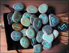SEA STONE RUNES ~ RUNE STONES & POUCH ♥ WITCH PAGAN FAERIE WICCA Silver Symbols | eBay