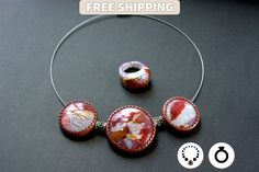 Handmade Jewelry Set «Rocks And Ice» - Necklace & Ring - Amaizing Unique Jewellery Set from Polymer Clay by SweetyBijou on Etsy
