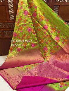Buy green color dupion blends with border 8897195985 Kota Silk Saree, Silk Sarees, Sari, Kurta Designs, Green Colors, Floral Prints, Stuff To Buy, Fashion, Saree