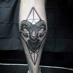 Geometric 3d Ram Back Of Leg Calf Mens Tattoos
