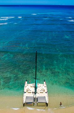 Another feature of a catamaran; you can beach it when you want to go ashore.