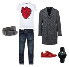 """""""Heart"""" by federica-camilla-guerrera on Polyvore featuring Hollister Co., Tagliatore, Dsquared2, Maison Margiela, Movado, Ted Baker, men's fashion and menswear"""