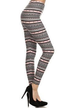 Leggings Depot REG/Plus Women's Buttery Printed Soft Leggings Pants Winter Leggings, Knit Leggings, Striped Leggings, Leggings Are Not Pants, Best Leggings For Women, Leggings Depot, Leggings Fashion, Black Stripes, Pink Black