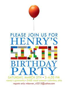 LEGO party invitation