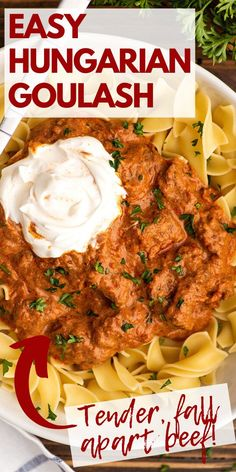 This easy Hungarian goulash is the ultimate stick-to-your-bones comfort food. Beef chuck simmered with onions and tomatoes until tender and mixed with sour cream for an ultra-creamy and rich stew you can serve over noodles, potatoes, or spaetzle. Recipes Using Pork, Beef Recipes For Dinner, Delicious Dinner Recipes, Slow Cooked Chicken, How To Cook Chicken, Boneless Beef Short Ribs, Easy Beef Stew, Beef Chuck Roast, Ground Beef Casserole