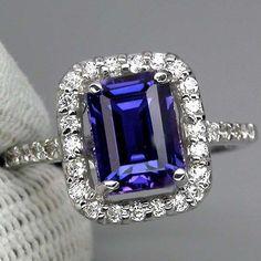 Vintage Emerald Cut 3CT Blue Purple Sapphire Round Diamond Cut Sapphires 925 Sterling Silver Promise Engagement Anniversary Wedding Ring