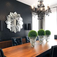 Black wall in the dinning room
