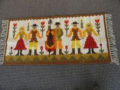Vtg 70's Polish Kilim Rug Weaving Folk Dance Original Tag Poland Wool Tapestry