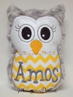 Hey, I found this really awesome Etsy listing at https://www.etsy.com/listing/173815475/gray-and-yellow-chevron-plush-owl