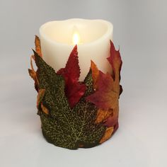 Candle Holder - Seasonal Decor - Candle Decor - OOAK Candle Decor - Fall Leaves Decor - Fall Decorating - Home Decor - Fall Candle Decor by TheCustomCandlePlace on Etsy