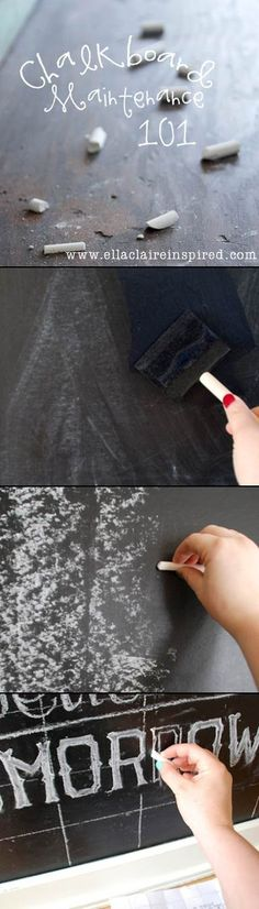 {Ella Claire}: Chalkboard Maintenance 101~ Tips on how to paint, care for, and maintain your chalkboard