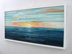 Paisaje pintura abstracta en madera escultura por ModernRusticArt