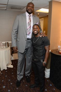 """Shaquille O'Neal (7'1"""") with Kevin Hart (5'4"""")"""