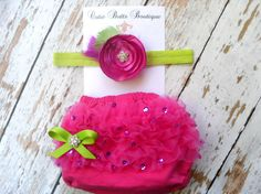 Hot pink Baby Ruffle Bloomer and Shabby headband set .. Baby bloomers .. Ruffle bloomers .. Chiffon Bloomers .. Diaper cover .. Photo prop. $22.95, via Etsy.